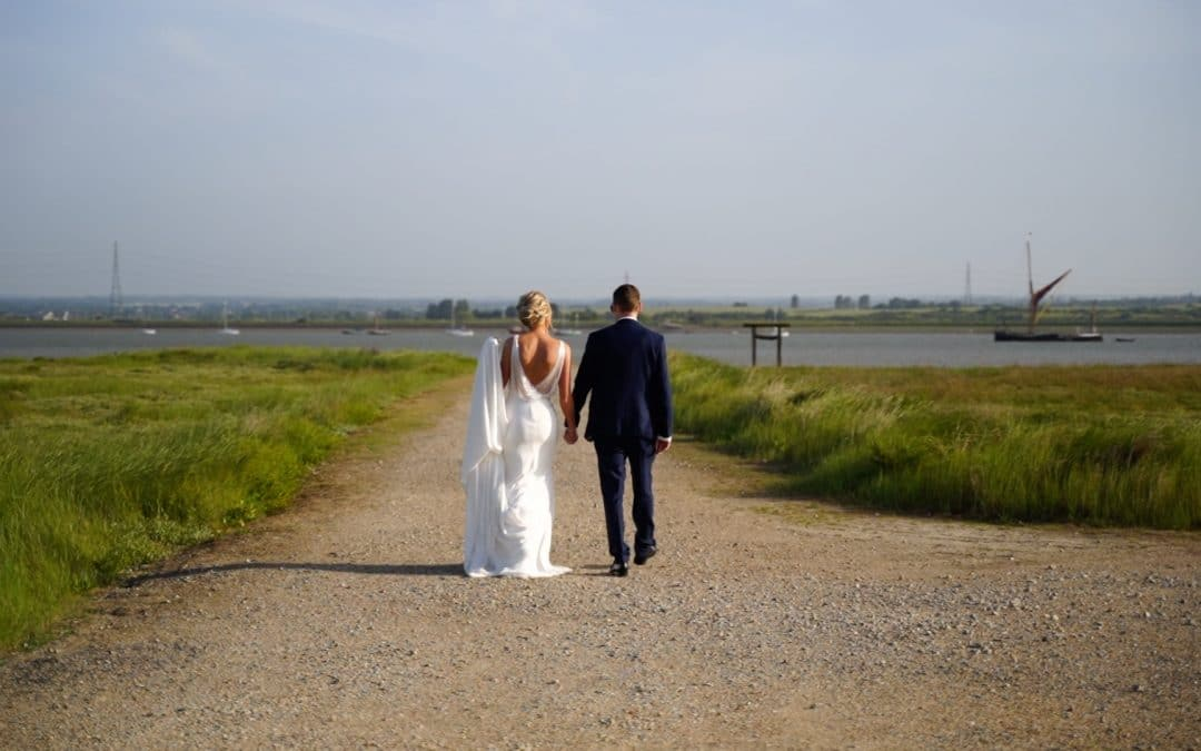 Wedding couple walking together